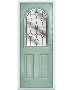 The Edinburgh Composite Door in Green (Chartwell) with Brass Art Clarity