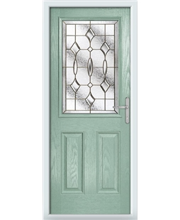 The Farnborough Composite Door in Green (Chartwell) with Brass Art Clarity