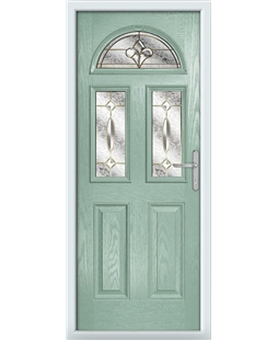 The Glasgow Composite Door in Green (Chartwell) with Brass Art Clarity