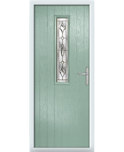 The Sheffield Composite Door in Green (Chartwell) with Brass Art Clarity