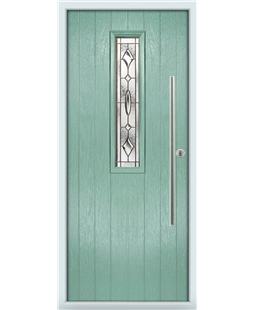 The York Composite Door in Green (Chartwell) with Brass Art Clarity