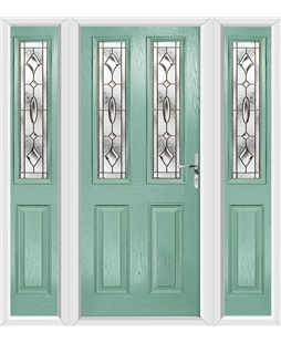 The Cardiff Composite Door in Green (Chartwell) with Brass Art Clarity and matching Side Panels