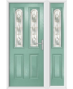 The Aberdeen Composite Door in Green (Chartwell) with Brass Art Clarity and matching Side Panel