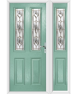 The Cardiff Composite Door in Green (Chartwell) with Brass Art Clarity and matching Side Panel