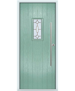 The Zetland Composite Door in Green (Chartwell) with Brass Art Clarity