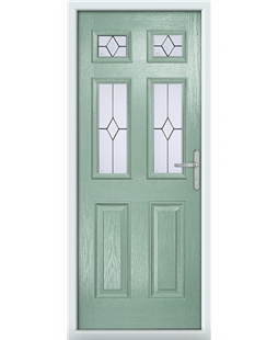 The Oxford Composite Door in Green (Chartwell) with Classic Glazing