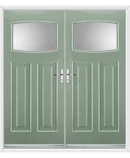Newark French Rockdoor in Chartwell Green with Glazing