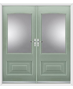 Portland French Rockdoor in Chartwell Green with Glazing