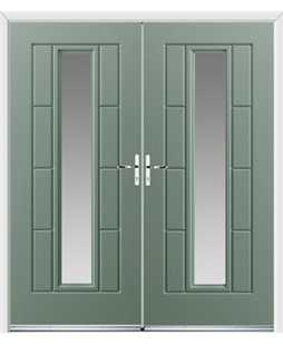 Vermont French Rockdoor in Chartwell Green with Glazing