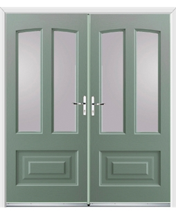 Illinois French Rockdoor in Chartwell Green with Glazing