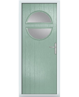 The Queensbury Composite Door in Green (Chartwell) with Clear Glazing