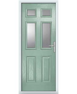 The Oxford Composite Door in Green (Chartwell) with Clear Glazing
