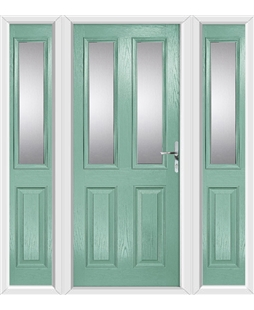 The Cardiff Composite Door in Green (Chartwell) with Glazing and matching Side Panels