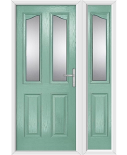 The Birmingham Composite Door in Green (Chartwell) with Glazing and matching Side Panel