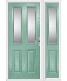 The Cardiff Composite Door in Green (Chartwell) with Glazing and matching Side Panel