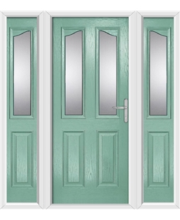 The Birmingham Composite Door in Green (Chartwell) with Glazing and matching Side Panels