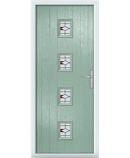 The Uttoxeter Composite Door in Green (Chartwell) with Barcelona Red