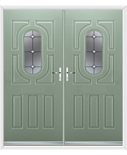 Arcacia French Rockdoor in Chartwell Green Crystal Bevel
