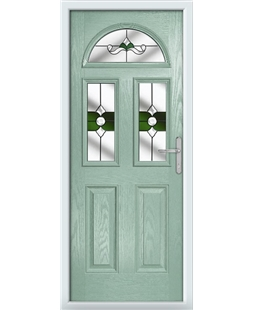 The Glasgow Composite Door in Green (Chartwell) with Green Crystal Bohemia