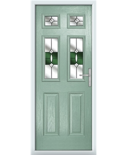 The Oxford Composite Door in Green (Chartwell) with Green Crystal Bohemia