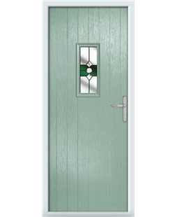The Taunton Composite Door in Green (Chartwell) with Green Crystal Bohemia
