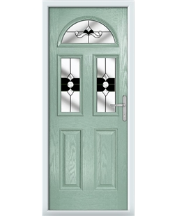 The Glasgow Composite Door in Green (Chartwell) with Black Crystal Bohemia