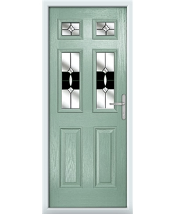 The Oxford Composite Door in Green (Chartwell) with Black Crystal Bohemia