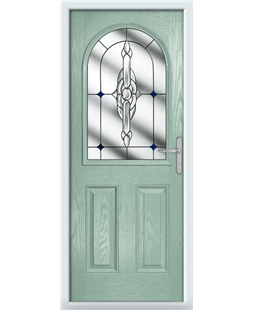 The Edinburgh Composite Door in Green (Chartwell) with Blue Crystal Bohemia