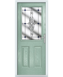 The Farnborough Composite Door in Green (Chartwell) with Blue Crystal Bohemia