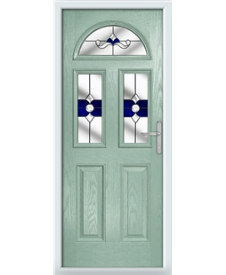 The Glasgow Composite Door in Green (Chartwell) with Blue Crystal Bohemia