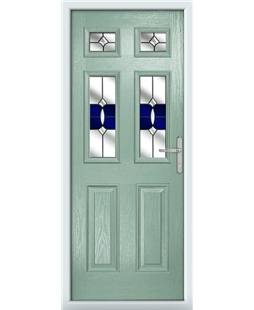 The Oxford Composite Door in Green (Chartwell) with Blue Crystal Bohemia