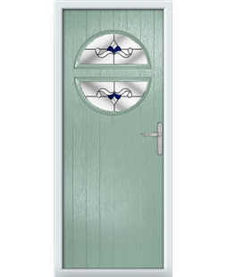The Queensbury Composite Door in Green (Chartwell) with Blue Crystal Bohemia