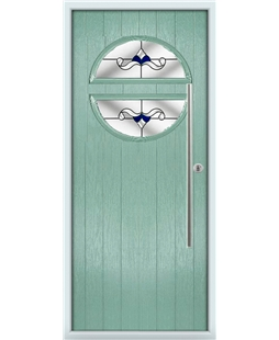 The Xenia Composite Door in Green (Chartwell) with Blue Crystal Bohemia