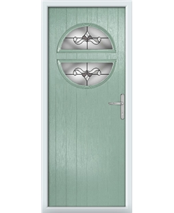 The Queensbury Composite Door in Green (Chartwell) with Crystal Bohemia Frost
