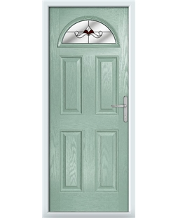 The Derby Composite Door in Green (Chartwell) with Red Crystal Bohemia