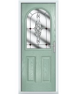The Edinburgh Composite Door in Green (Chartwell) with Red Crystal Bohemia