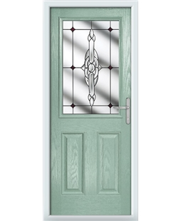 The Farnborough Composite Door in Green (Chartwell) with Red Crystal Bohemia