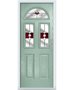 The Glasgow Composite Door in Green (Chartwell) with Red Crystal Bohemia