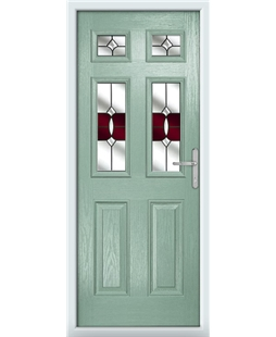 The Oxford Composite Door in Green (Chartwell) with Red Crystal Bohemia