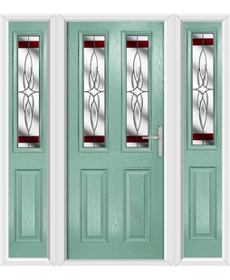 The Cardiff Composite Door in Green (Chartwell) with Red Crystal Bohemia and matching Side Panels