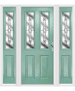 The Cardiff Composite Door in Green (Chartwell) with Crystal Bohemia and matching Side Panels