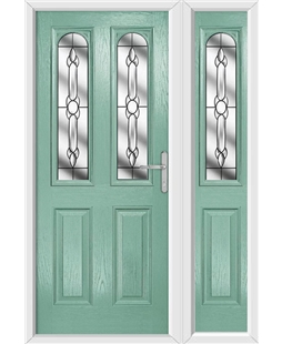 The Aberdeen Composite Door in Green (Chartwell) with Crystal Bohemia and matching Side Panel