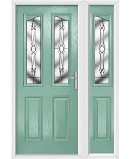 The Birmingham Composite Door in Green (Chartwell) with Crystal Bohemia and matching Side Panel