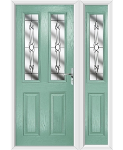 The Cardiff Composite Door in Green (Chartwell) with Crystal Bohemia and matching Side Panel