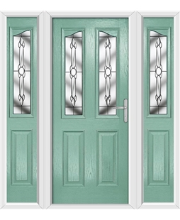 The Birmingham Composite Door in Green (Chartwell) with Crystal Bohemia and matching Side Panels