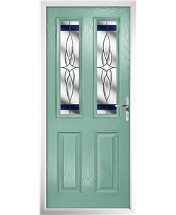 The Cardiff Composite Door in Green (Chartwell) with Blue Crystal Harmony