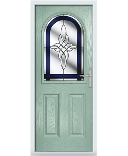 The Edinburgh Composite Door in Green (Chartwell) with Blue Crystal Harmony