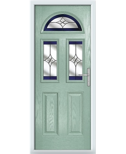The Glasgow Composite Door in Green (Chartwell) with Blue Crystal Harmony