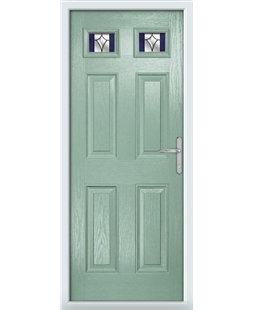 The Ipswich Composite Door in Green (Chartwell) with Blue Crystal Harmony
