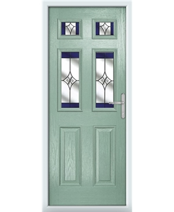 The Oxford Composite Door in Green (Chartwell) with Blue Crystal Harmony